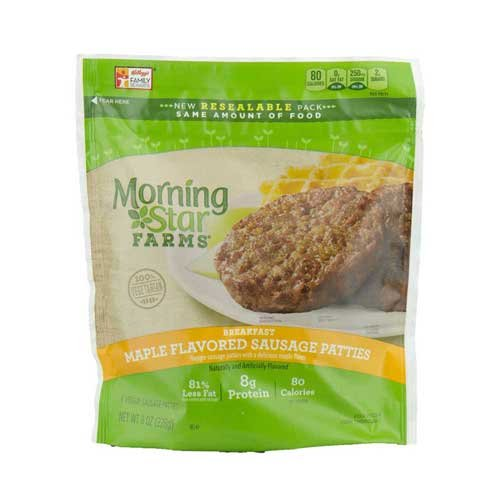 Morningstar Farms Breakfast Maple Flavored Sausage Patties, 8 Ounce -- 6 per case.