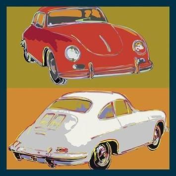 Bild mit Rahmen Rod Neer - Porsche 356 squared - Holz blau - 50 x 50cm - Premiumqualität - Cult - Kinder - Comic - Pop-