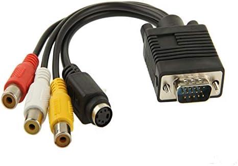 JHM-ES Serie de Cables VGA para Redes de computadora Adaptador de Cable convertidor VGA a S-Video AV RCA TV con 2 Cables de Audio: Amazon.es: Electrónica