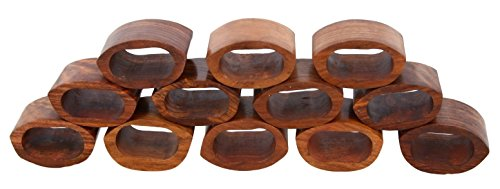 (ShalinIndia Handcrafted Table Dinner Decorations Wooden Napkin Rings Set of 12 for Party Decor)