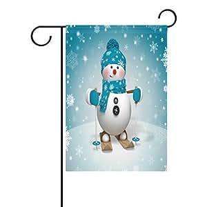 wozo Cartoon esquí muñeco de nieve jardín bandera invierno copo de nieve Navidad poliéster bandera al aire libre casa fiesta