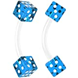 vertical hood piercing rings - Bling Unique 2pc 16g Curved Barbell Cartilage Earrings Flexible Acrylic Tragus Rook Dice Blue Piercing Jewelry