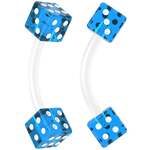 Bling Unique 2pc 16g Curved Barbell Cartilage Earrings Flexible Acrylic Tragus Rook Dice Blue Piercing Jewelry