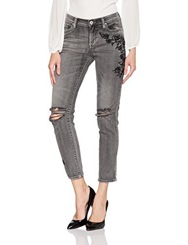 Jessica Simpson Womens Juniors Mika Embroidered Girlfriend Jeans Black, 33