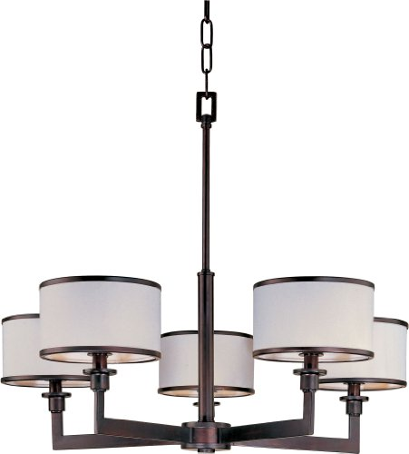 Modern Single Light Drum (Maxim 12055WTOI, Nexus, 5-Light Chandelier, Oil Rubbed)