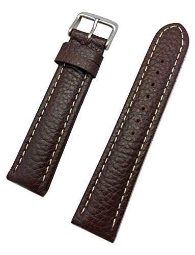 22mm Dark Brown, Long, Genuine Leather Watch Band with Stitchings | Buffalo Shrunken Grain, Medium Padded Replacement Wrist Strap That Brings New Life to Any Watch (Mens Long Length)