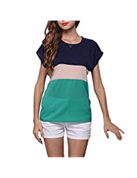 New Striped Patchwork Women Summer Short Sleeve Chiffon Tops Loose Shirts Chemises