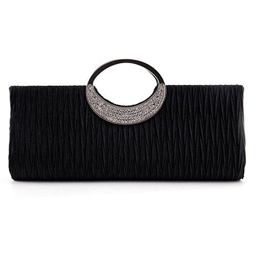 Nodykka Wedding Party Satin Pleated Rhinestone Clutch Bag Cross Body Handbag (Black Pleated Shoes)