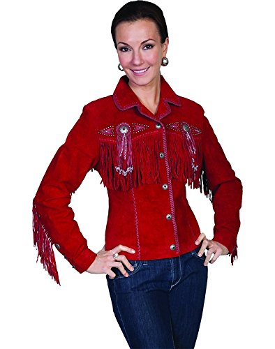 Fringed Womens Jacket - Scully Women's Fringed Suede Leather Jacket Red X-Large