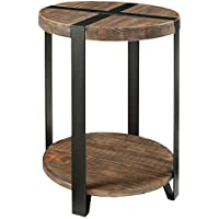Alaterre Modesto Rustic Round End Table -