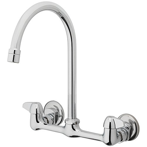 Homewerks 3190-40-CH-BC-Z Two Handle High-Arc Wallmount Kitchen (Handle Wall Mount Gooseneck Faucet)