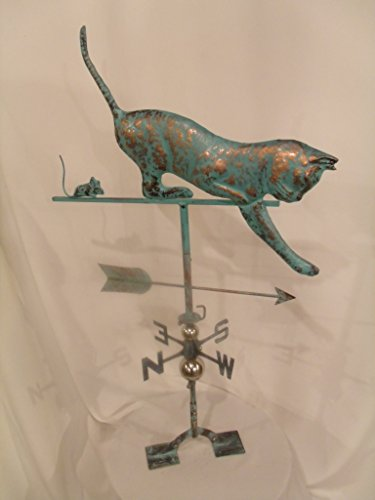 (FurnitureBarnUSA Large Handcrafted 3D 3- Dimensional CAT and Mouse Weathervane Copper Patina Finish)