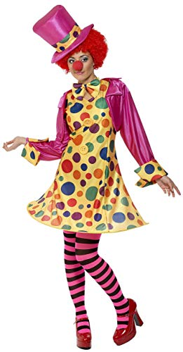 Smiffys Women's Clown Lady Costume, Hooped Dress, Shirt, Bow Tie, Stripy Tights and Hat, Funny Side, Serious Fun, Size 14-16, 32882 ()