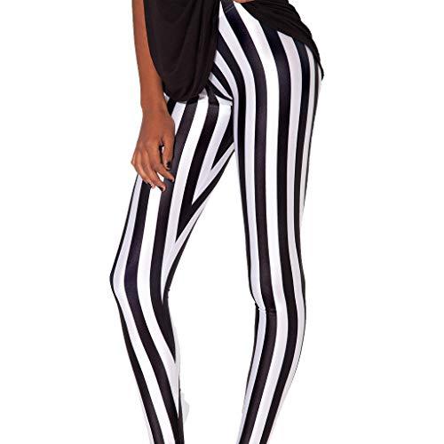 QZUnique Women's Vertical Black and White Stripe Print Shaping Footless Leggings (Leggings Stripe Black)