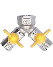 Y‑Shape Valve Connector Hose Splitter,with Nipple Adapter,for Garden Irrigation Accessory,Valve can be Opened and Closed Separately,Easy to Control and Use