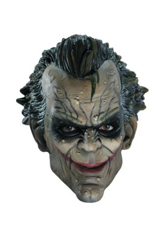 Arkham City Joker Mask (Rubie's Costume Co Batman Arkham City Three-Fourth Vinyl Joker Mask, White/Green, One Size by Rubies)