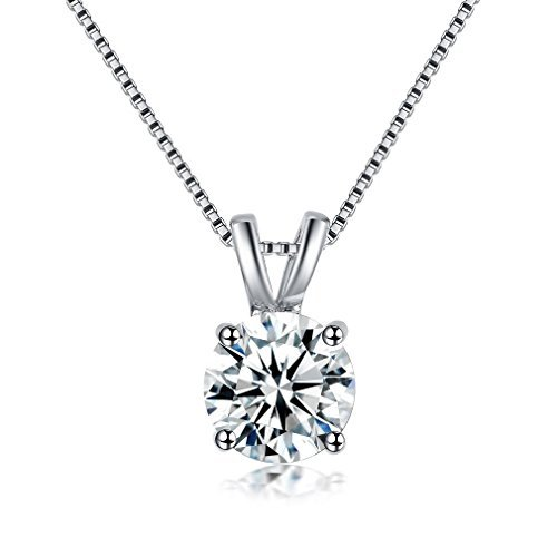Simple Wedding Necklace - Bella Lotus Jewelry 2 Carat Round Cut Clear CZ Crystal Solitaire Pendant Necklace 18