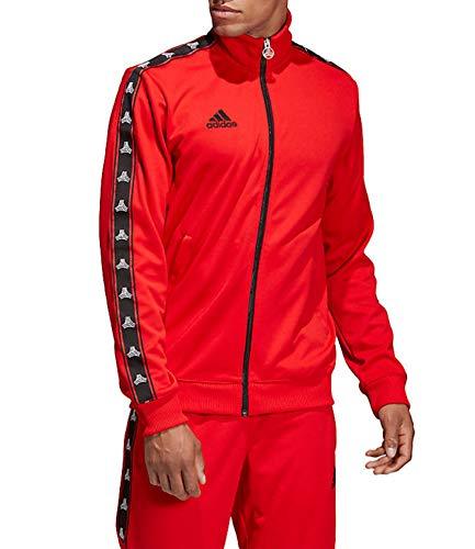 (adidas Men's Soccer Tango Tan Tape Clubhouse Full Zip Jacket Track Top (Medium, Red))