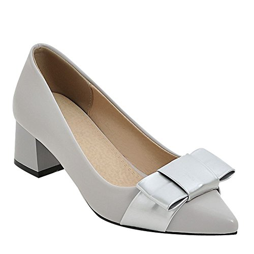 Carolbar Women's Lovely Solid Color Bow Mid Heel Pointed Toe Court Shoes Grey NEhx9TM