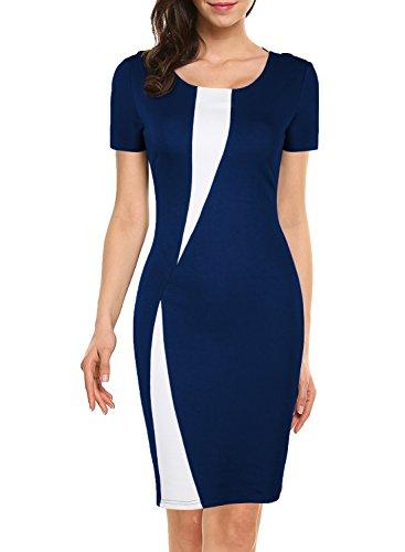 WOOSEA Women's Short Sleeve Colorblock Slim Bodycon Business Pencil Dress (XX-Large, Navy (Colorblock Suit)