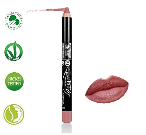 PuroBIO Certified Organic Highly-Pigmented and Long-Lasting ALL-in-ONE Lipstick, Blush, Lipliner NO 24 Mauve Pink. Made with Apricot Oil, Soy Oil. ORGANIC.NICKEL TESTED. MADE IN ITALY.
