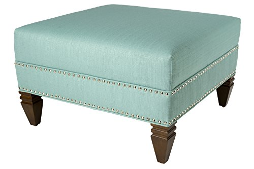 MJL Furniture Designs SachiLagoon Hugo Collection Square Ottoman, Lagoon by MJL Furniture Designs