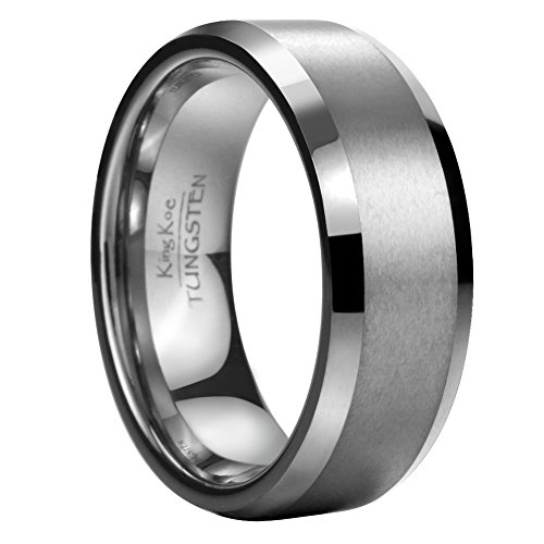 King Koe Men 8mm Tungsten Wedding Band Ring Comfort Matte Finish Life Time Warranty Size 11