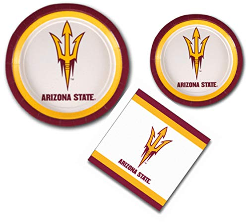 Arizona State University Sun Devils Party Supplies Themed Paper Plates and Napkins Serves 10 Guests