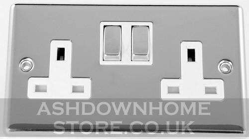 G&H CC210 Standard Plate Polished Chrome 2 Gang Double 13A Switched Plug Socket G&H Brassware