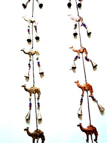 Yapree Set of 2 Handmade Bell String with Brass Bells Camel Statue, and Glass Beads: 35