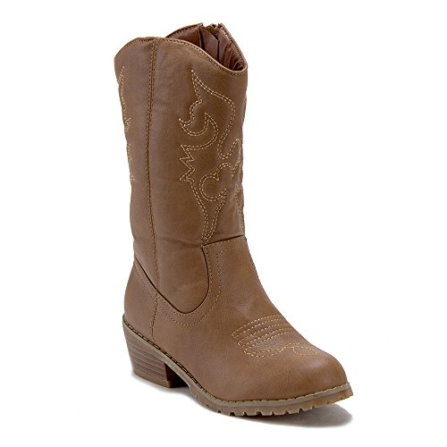 Jazame Little Kids' Girls Tall Stitched Western Cowboy Cowgirl Boots, Brown, 4