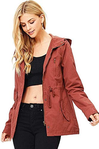Ambiance Women's Cargo Style Hoodie Jacket (L, - Twill Ladies Red Jacket Cotton
