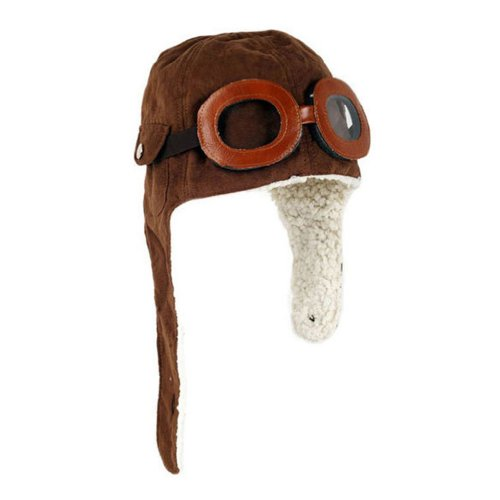 [TANZKY Adorable Pilot Aviator Warm Hat Brown Beanie Plush Cap Baby Toddler Protect] (Adult Aviator Hat)