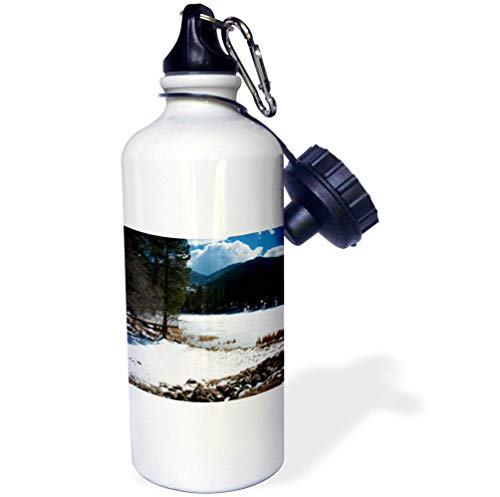 3dRose Jos Fauxtographee- Frozen Pine Valley Lake - The Lake in Dixie National Forest iced Over with Snow - 21 oz Sports Water Bottle (wb_291065_1) by 3dRose