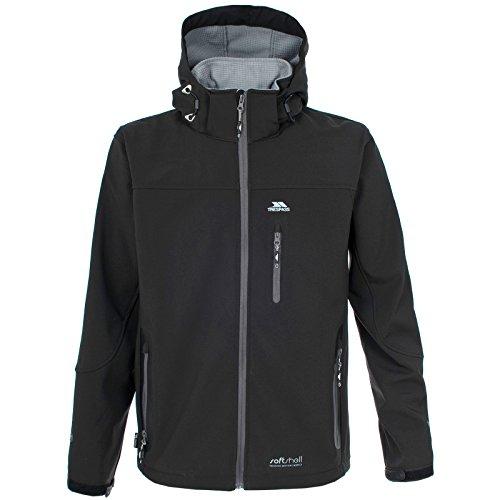 Trespass Men's Accelerator TP75 Softshell Jacket with Hood, Black, (Mens Accelerator Soft Shell Jacket)
