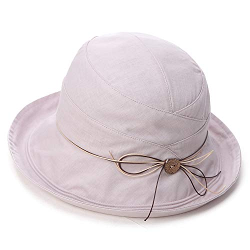 Siggi SPF 50+ Cotton Linen Packable Bucket Sun Hats for Women Wide Brim Sunhat with Chin Cord Summer ()