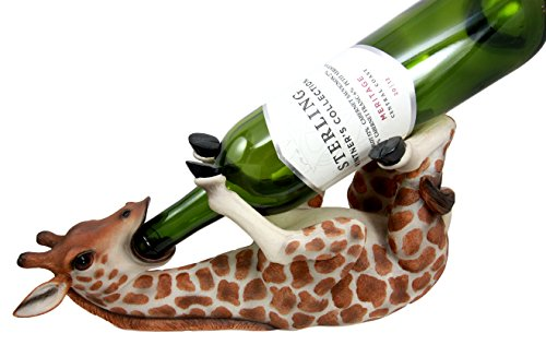 Atlantic Collectibles Safari Thirsty Long Necked Giraffe Wine Bottle Holder Caddy Figurine (Giraffe Java)