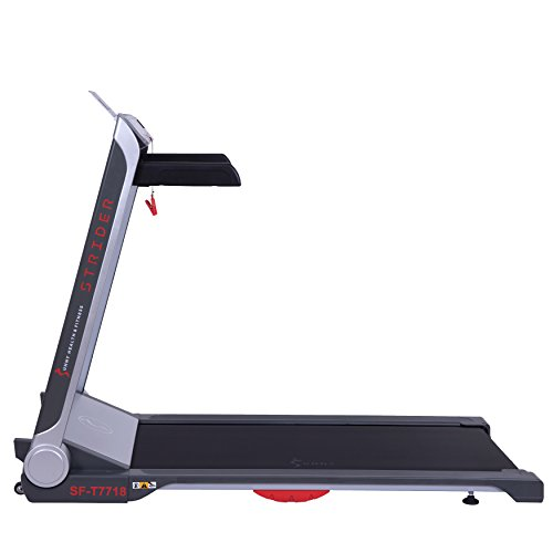 Sunny Health & Fitness Motorized Folding Running Treadmill with Wide Base, Portable, USB, Aux, Flat Folding & Low Profile - Strider, SF-T7718, Black by Sunny Health & Fitness (Image #7)