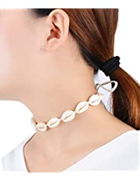 Handmade Summer Beach Shell Conch White Velvet Rope Choker Necklace d46612649bec