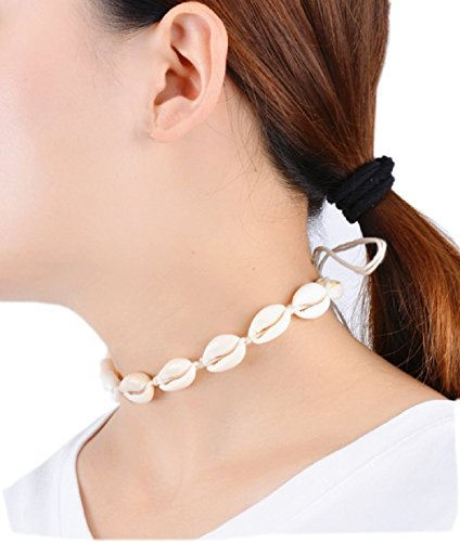 SUNSCSC Handmade Summer Beach Shell Conch White Velvet Rope Choker Necklace (White Shell)