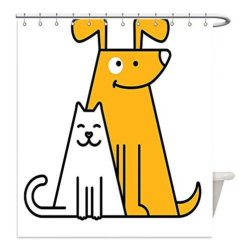 Liguo88 Custom Waterproof Bathroom Shower Curtain Polyester Cartoon Cats and Dogs Human Best Friends Forever Kids Nursery Room Art Print Black White and Apricot Decorative - White In Plains Galleria
