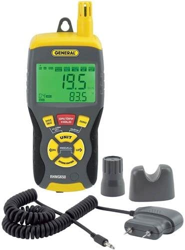 General Tools RHMG650 9-In-1 Thermo-Hygrometer with Pin Pinless Moisture Meter