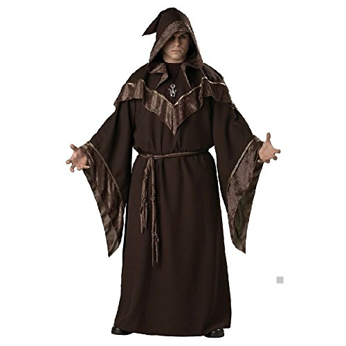 Cruella Deville Coat Costumes (Wizard Costume Adult Mens Medieval Priest Sorcerer Halloween Fancy Dress)