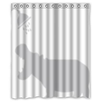 Custom Waterproof Bathroom Funy Hippo Shadow Sihouette Shower Curtain Polyester Fabric 60quot