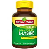 Nature Made Extra Strength L-Lysine 1000 mg Amino Acid, 60 Tablets (Packaging May Vary)
