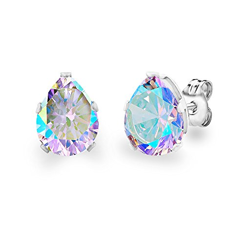 (DIANE LO'REN 18KT White Gold Plated 8mm Gemstone Crystal Teardrop Pear Shaped Cubic Zirconia Cartilage Studs Earrings Set Women Jewelry (Aurora Borealis))