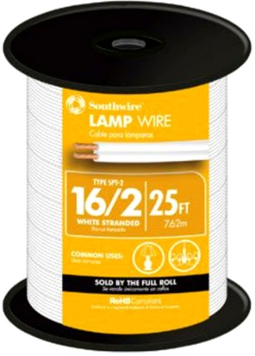 Southwire 55682121 25-Feet 16-Gauge, 2 Conductor 16/2 Type SPT-2 Lamp Cord-Service Parallel Cord with Thermoplastic Insulation, White - Clear Lamp Cord