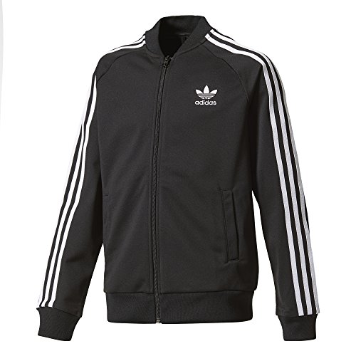 adidas Originals Tops Big Boys' Kids Superstar Track, Black/White, (Adidas Tricot Logo Jacket)