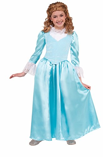 Forum Novelties Kids Colonial Lady Costume, Blue, Medium - Colonial Girl Childrens Costumes