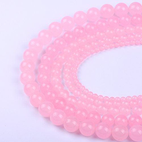 Natural Round Pink Jade Loose Stone Beads For Bracelet Necklace DIY Jewelry Making (Pink Jade Round Beads)